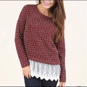 Altar'd State Polka Dot Sweater with Lace Trim